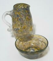 Vintage Signed Confetti Spatter Hand-Blown Art Glass Cream Pitcher & Berry Bowl
