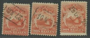 COSTA RICA SC# 4 LOT OF 3 FINELY USED EXAMPLES AS SHOWN CATALOGUE VALUE $127.50