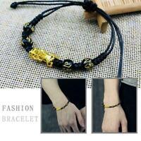 Punk Obsidian Dragon Gold Reichtum Armband Gold Armband V0Z7 H1Q5