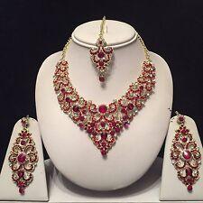 BORDEAUX Oro Indiano Bigiotteria Collana Orecchini Diamond Set da sposa nuovo