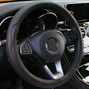 """Black leather Car Steering Wheel Cover PU Universal Fit 38cm/15"""" Accessories"""