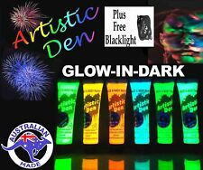 6 x15ml UV NEON  GLOW IN THE DARK FACE & BODY PAINT+ FREE UV LIGHT! **