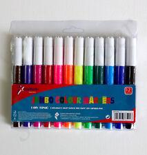 12Pc Jumbo Children Colouring Pens Washable Mixed Colour Marker Felt Tip Art Set