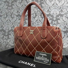 Rise-on Vintage CHANEL Wild Stitch Brown Calf Skin Leather Handbag #1713