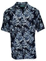 Cubavera Men's Short Sleeve Printed Woven Sport Shirt   Navy Blazer