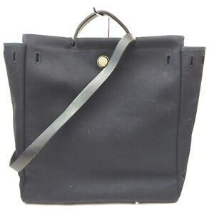Hermes Hand Bag  Black Canvas 1713964