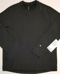 LULULEMON Men's L Large HBLK/BLK Heathered Black At Ease Crew Long Sleeve Shirt