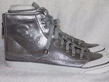 Coach A1040 FATIMA Metallic Silver High Top Sneakers Shoes 9.5M New NWOB