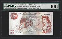 1991 Isle of Man 20 Pounds NO PREFIX, DOUBLE RADAR SERIAL NUMBER, PMG 66 EPQ UNC