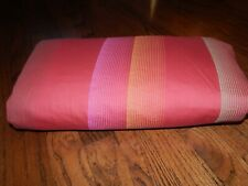 100% Cotton CRATE & BARREL Antiqua Red Scarlatti Strip Duvet Cover!