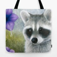 Tote bag All over print Raccoon 20 purple flower art painting L.Dumas
