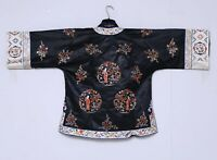 Antique Chinese Qing Dynasty Silk Embroidered textile Jacket Robe 27X21 inches
