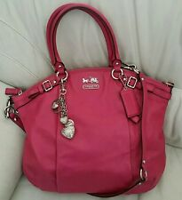 Authentic Coach Madison Leather Lindsey Satchel Tote Bag Coral No. J1260-18641