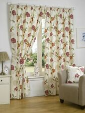 PLAIN COTTON MODERN FLORAL PATTERN CURTAINS FULLY LINED PENCIL PLEAT TOP BOUQUET