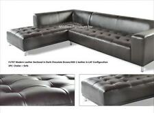 2PC Modern contemporary dark chocolate brown leather sectional #1707
