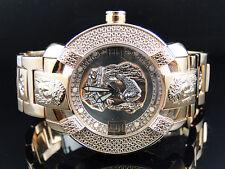 Mens Aqua Master Rose Gold Stainless Steel 3D Band Genuine Diamond Watch W#96