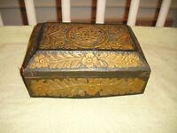 Antique Victorian Gothic Trinket Letter Box Metal Floral Patterns