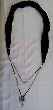 Black scarf necklace butterfly and heart pendant pearls multi purpose