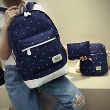 3Pcs Canvas Backpack School Shoulder Bag Rucksack Travel Bags for Girl Dark Blue