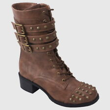 New Women's Spike Combat Boots Mid Calf Strappy Buckle Lace Up Tan Brown 5.5-10