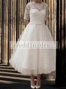 White/Ivory Tea length Half sleeve Lace Wedding Dress Evening Party Custom Size