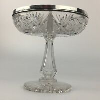 Antique Wilcox Sterling Silver Rim Crystal American Brilliant Cut Glass Compote