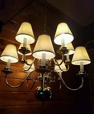 VINTAGE BRASS CHANDELIER 10 LIGHT HANGING CEILING LAMP FIXTURE COLONIAL STYLE