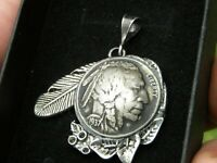 Authentic Buffalo Indian Head coin Necklace Pendants nice gift motorcycle biker