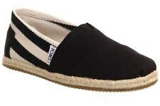 Toms Classic University Black Stripes Womens Canvas Espadrille Shoes Slipons