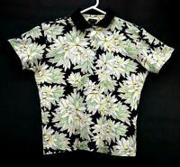 Izod Womens Medium Short Sleeve Floral Print 100% Cotton Golf Outdoor Polo Shirt