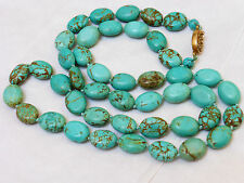VINTAGE  CHINESE NATURAL TURQUOISE BEADED NECKLACE, 58 grams