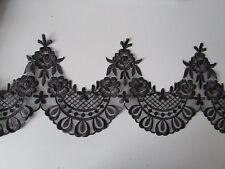Negro Bordado Borde Ribete de Encaje 1 Metro Coser/Disfraz/artesanía/Corsetry