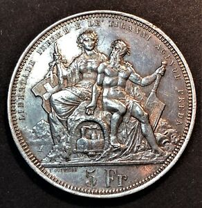 Switzerland/ 5 Francs 1883/ Shooting Festival/ KM.S16/ Lugano/ SILVER COIN