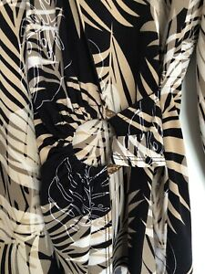 Stitches Classics Leaf Print Brown & Beige Long Sleeve Blouse Size 12