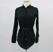 Helmut Lang Blouse Shirt Top Womens Black Belted Mist Drawstring P/TP Petite