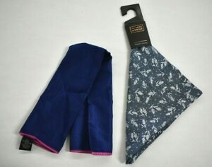 Mens 2 Pack Of Pocket Squares Multi Colored Blue Tone Mixed Brands Cotton Blend
