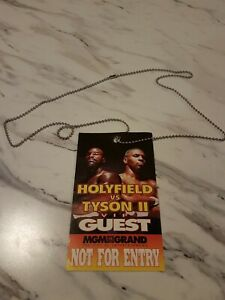 EVANDER HOLYFIELD MIKE TYSON II 1997 BOXING TICKET Guest Pass The Bite Fight WOW