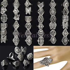 Wholesale Bulk Jewelry Lots 30pcs Mixed Style Tibet Silver Vintage Band Rings