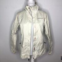 Marmot Womens Jacket Beige Gore-Tex Paclite Waterproof Rain Coat Size Small