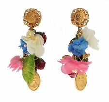 DOLCE & GABBANA Fruit Flowers Religious Maria Dangling RUNWAY Clip On Earrings