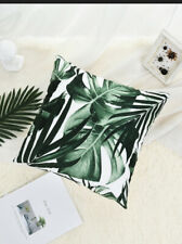 WHITE & GREEN TROPICAL PALM LEAF PRINT  CUSHION COVER 45cm X 45cm  Room Decor