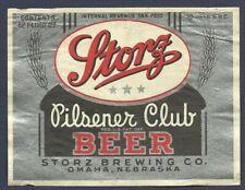 Storz Pilsener Club Beer Label, IRTP, Storz Brewing Co., Omaha, NE