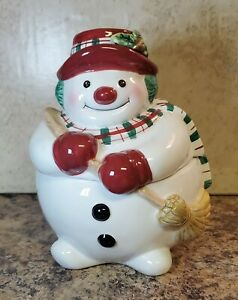 Fitz and Floyd Plaid Christmas Snowman Cookie Candy Jar Holiday