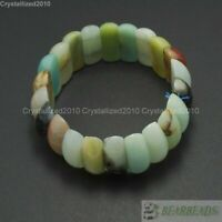 Natural Colorful Amazonite Gemstone Crescent Beaded Stretchy Bracelet 23mm Wide