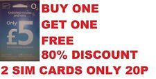 o2 Sim Card Pay As You Go Unlimited Mins Standard Micro Nano 2G 1 FREE SIMCARD !