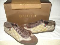 c2321bed8b6 100% AUTHENTIC NEW MEN GUCCI GG WEB BEIGE SUEDE AND CANVAS SNEAKERS UK 9