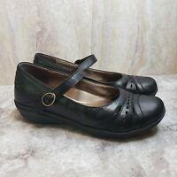 Dansko Mathilda Mary Jane Sz. 40 Black Leather Perforated Wedge Shoes Nursing