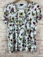 J. Jill Wearever Collection White Floral Short Sleeve Top Size Small