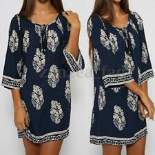 AU 8-24 Zanzea Women Boho Floral Printed 3/4 Sleeve Loose Long Tops Shirt Dress