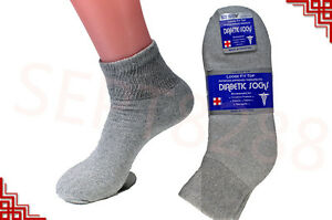 3,6,12 Pairs Diabetic Socks ANKLE QUARTER Crew Circulatory Socks Health Cotton